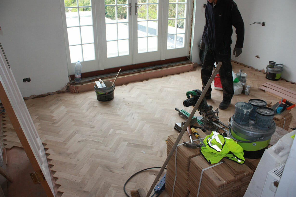 Laying of wooden floor