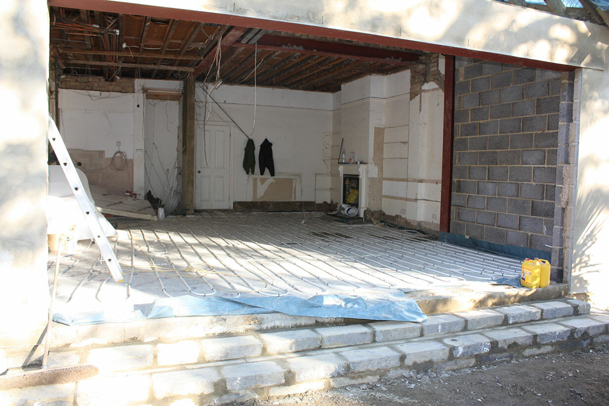 Bare extension walls