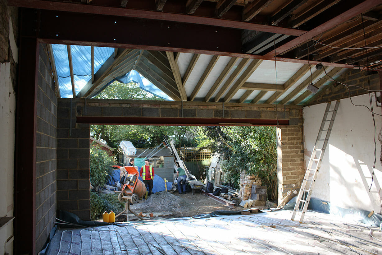View from inside half completed extension
