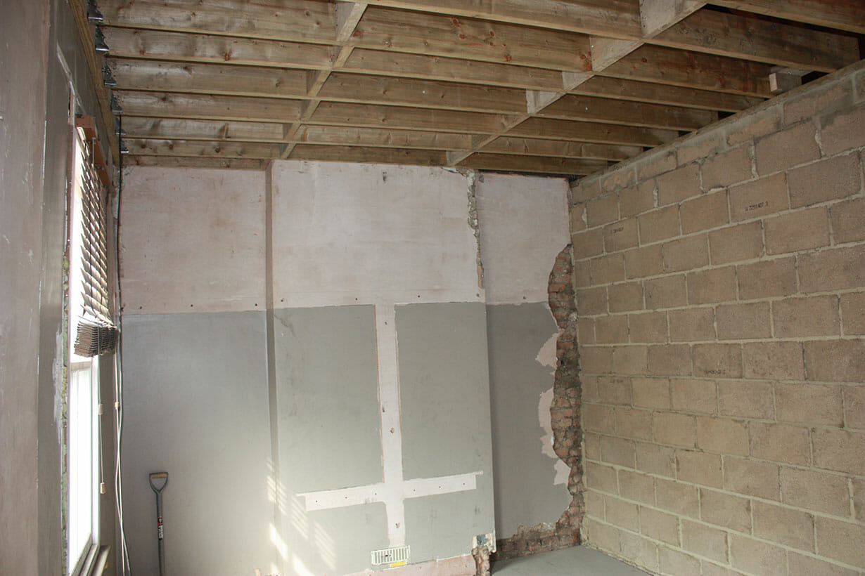 Ceiling joists and brickwork