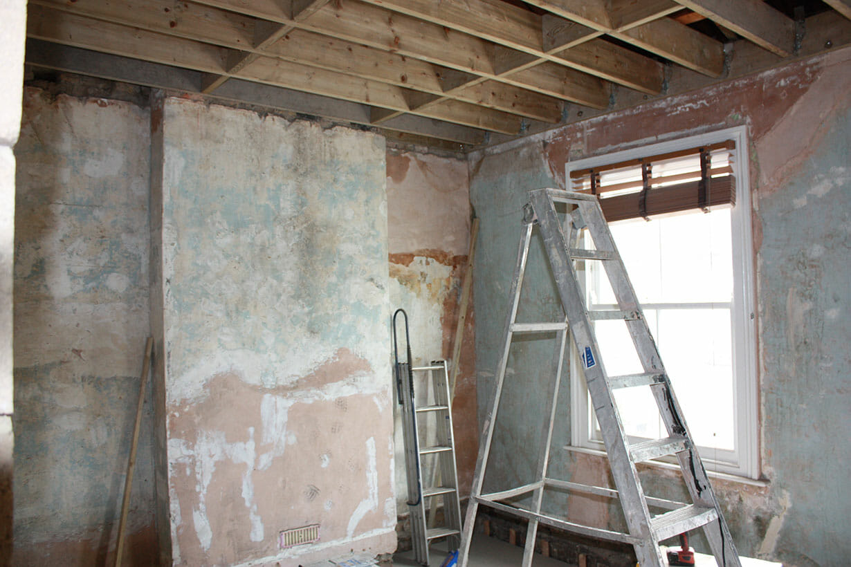 Bare plaster on walls
